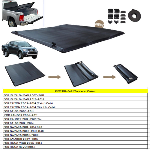 Pvc Tri Fold Tonneau Cover For 4x4 Pick Up 4x4 Pickup Accessories China Exporter
